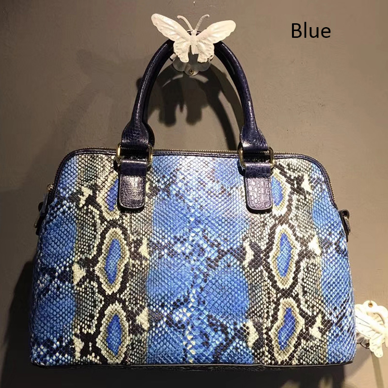 3 Compartments Python Effect Real Leather Tote LH2688_4 Colors
