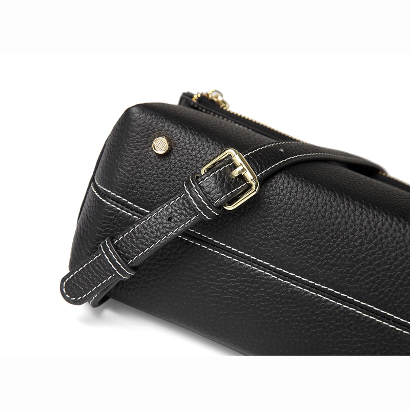 Black 3 Sections Real Leather Crossbody Bag LH2697