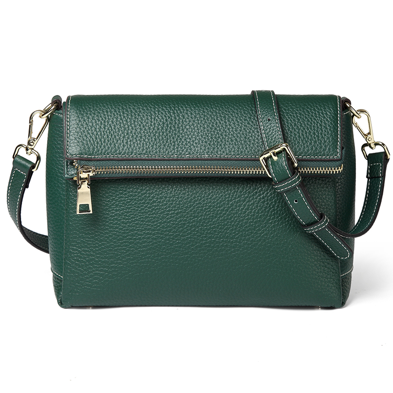 Green 3 Sections Real Leather Crossbody Bag LH2697