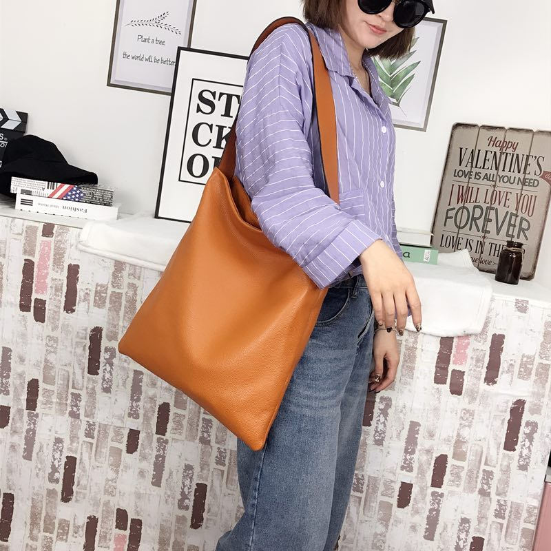 Supple Genuine leather Slouchy Shoulder Bag LH2715_7 Colors