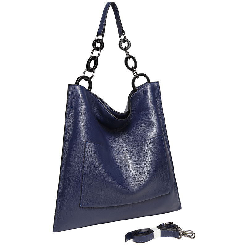 Navy Blue Cowhide Real Leather Slouchy Shoulder Purse LH2716