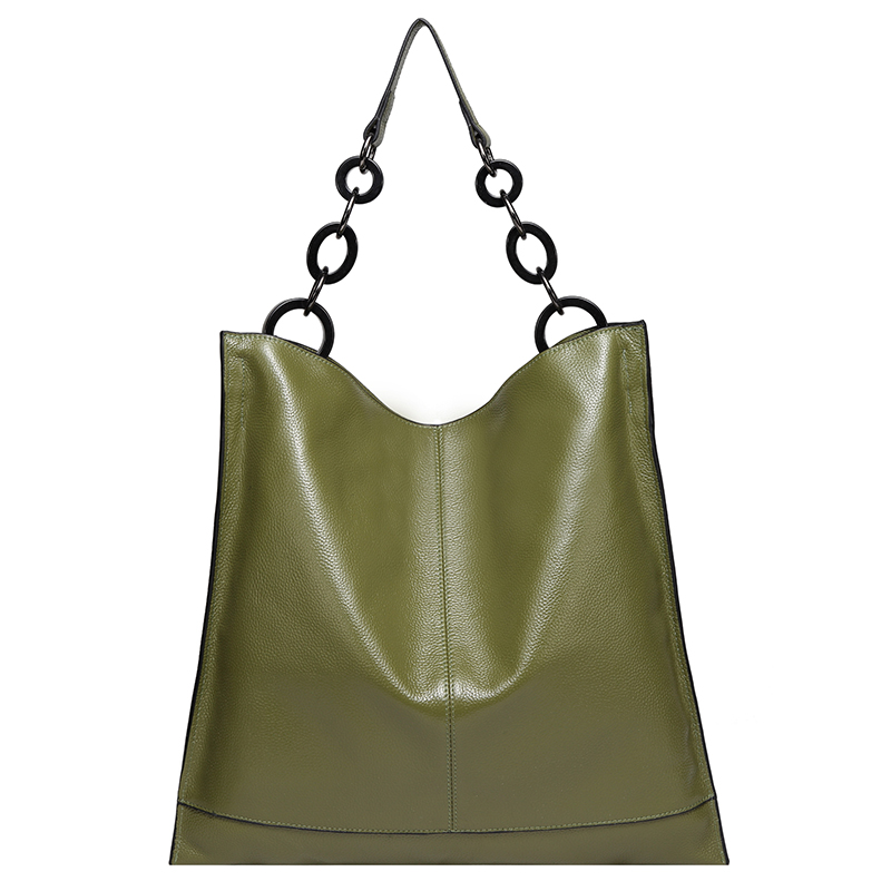 Grass Green Cowhide Real Leather Slouchy Shoulder Purse LH2716