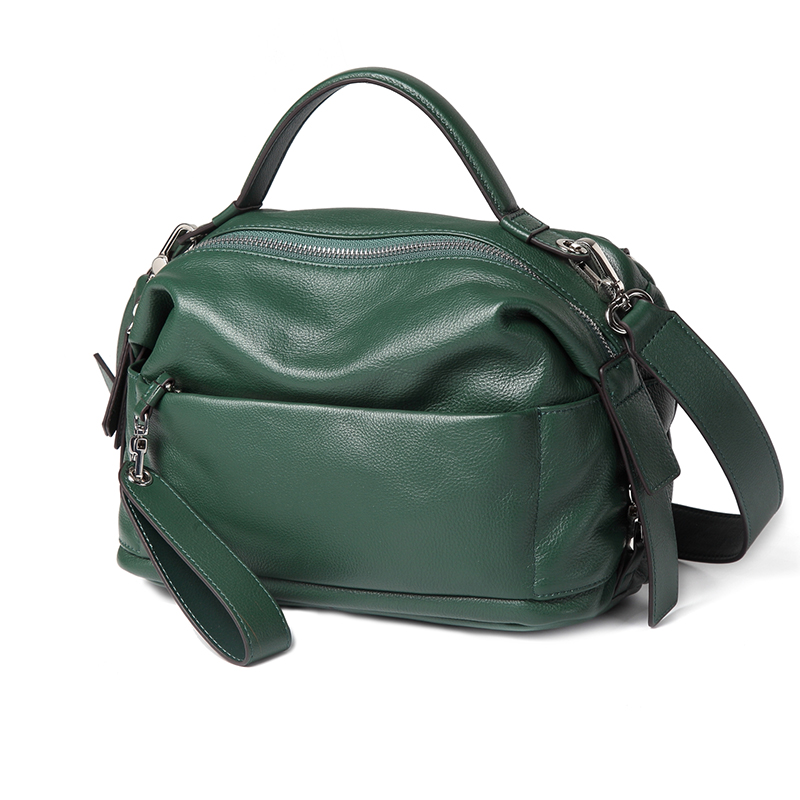 Dark Green Designer Top handle Real Leather Zipper Bag work Tote Satchel Purse LH2717