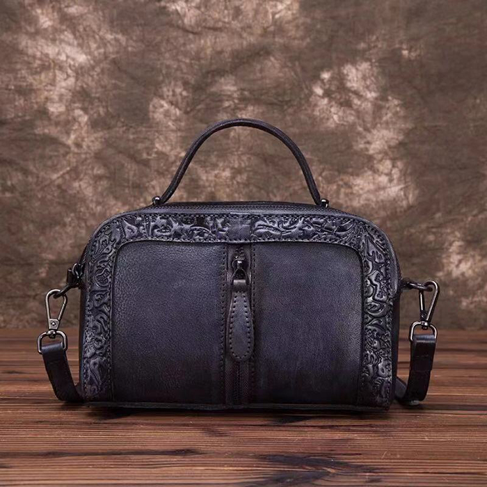 Unique Floral Embossed Leather Satchel Bag LH2725_4 Colors