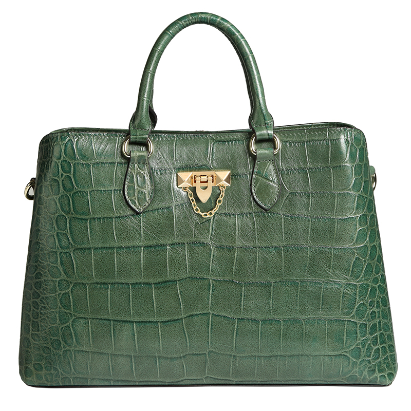 Brown Green Fabulous Crocodile Pattern Real Leather Tote Top Handle Bag LH2731