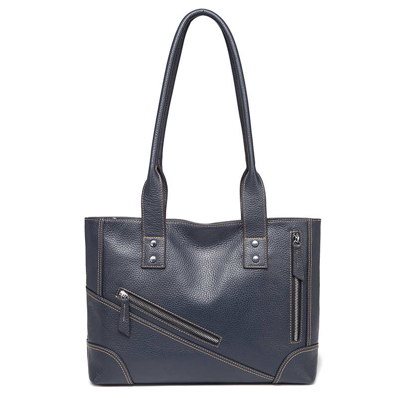 Navy Blue Leather Tote Shoulder Bag Multi Pockets Designer Handbags for Ladies LH2734