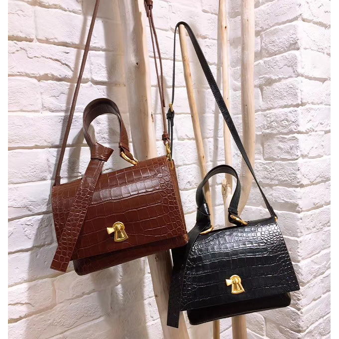 Crocodile Pattern Unlined Real Leather Satchel Bag LH2756B_2 Colors