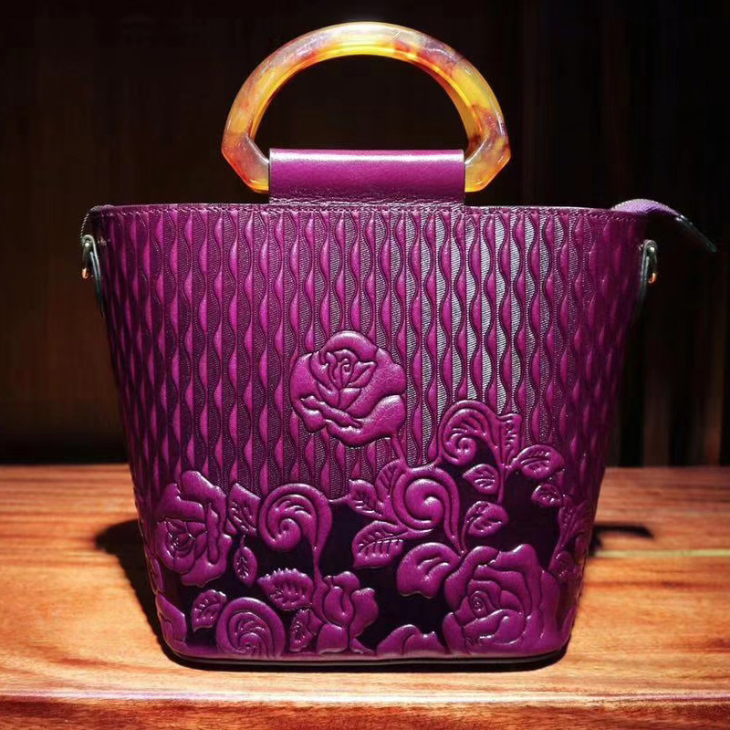 Vertical Rose Pattern Real Leather Purse Top Handle Bag LH2782_5 Colors