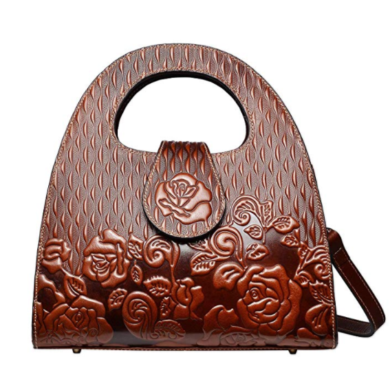 Circle Handle Rose Pattern Real Leather Purse LH2783_5 Colors