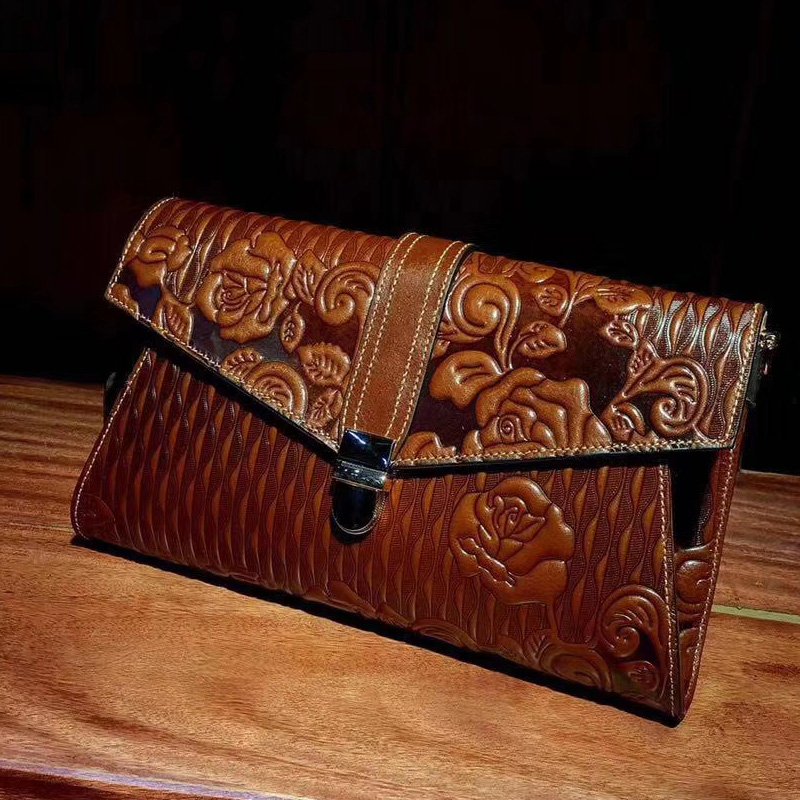 Floral Pattern Real Leather Purse LH2791_5 Colors