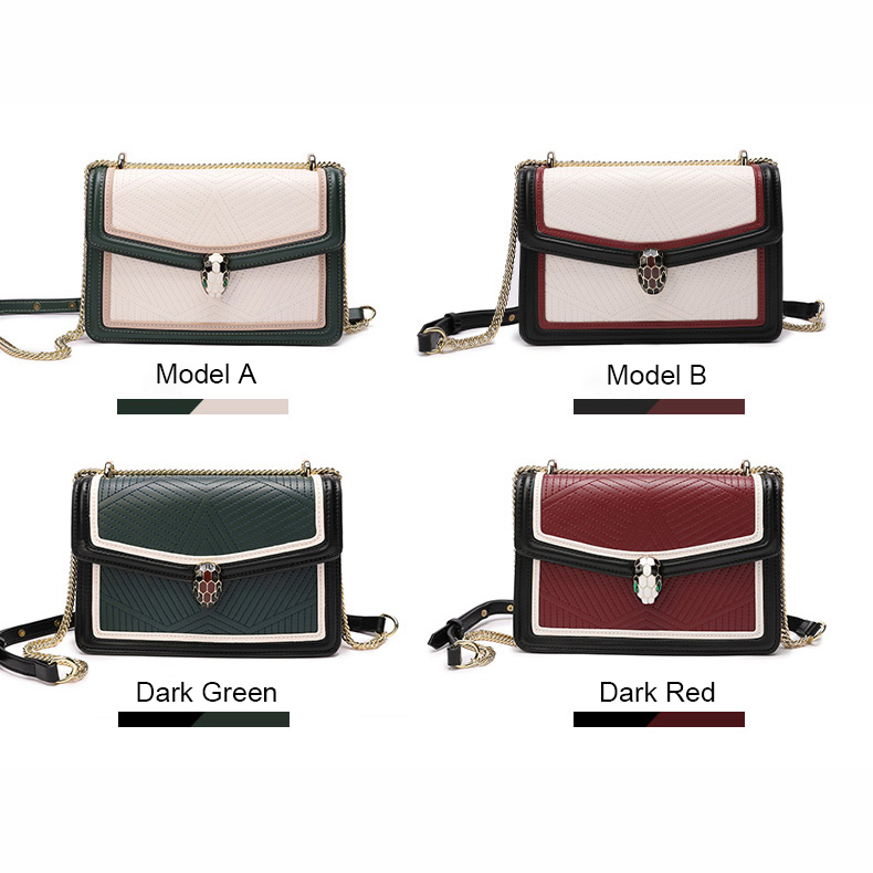 Flap Blocked Color Leather Crossbody Bag LH2885_4 Colors