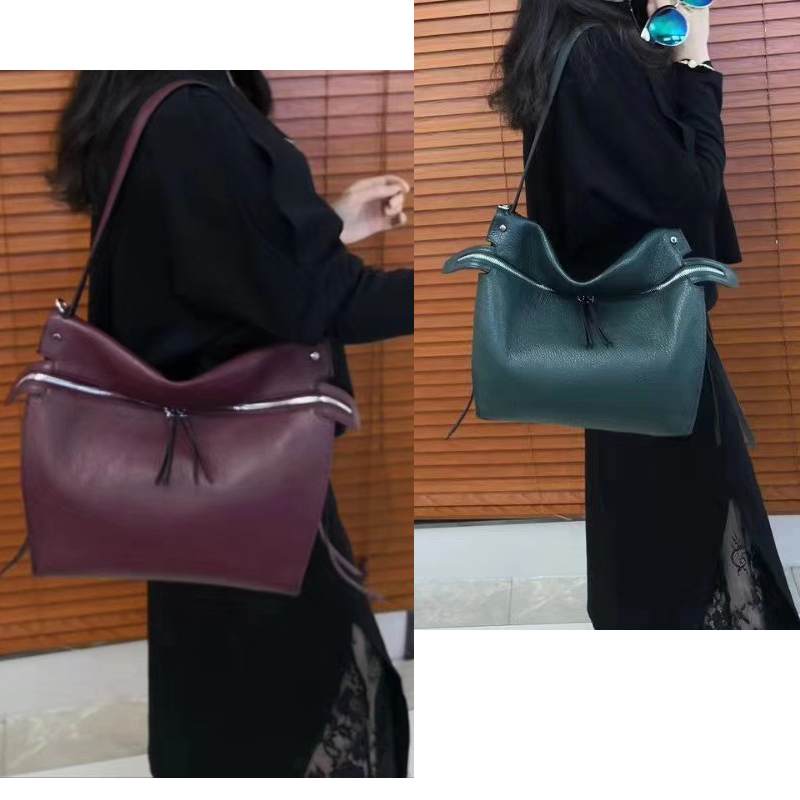 Zipper Soft Leather Shoulder Bag LH2886_5 Colors