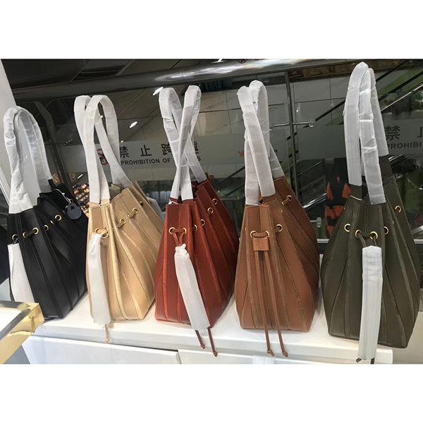 Drawstring Patent-Suede Patch-work Leather Barrel Bag LH2928S_ Colors