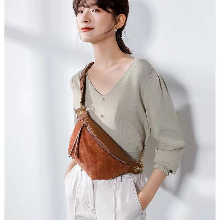 Suede Leather Waist Bag Crossbody Purse LH2934_4 Colors