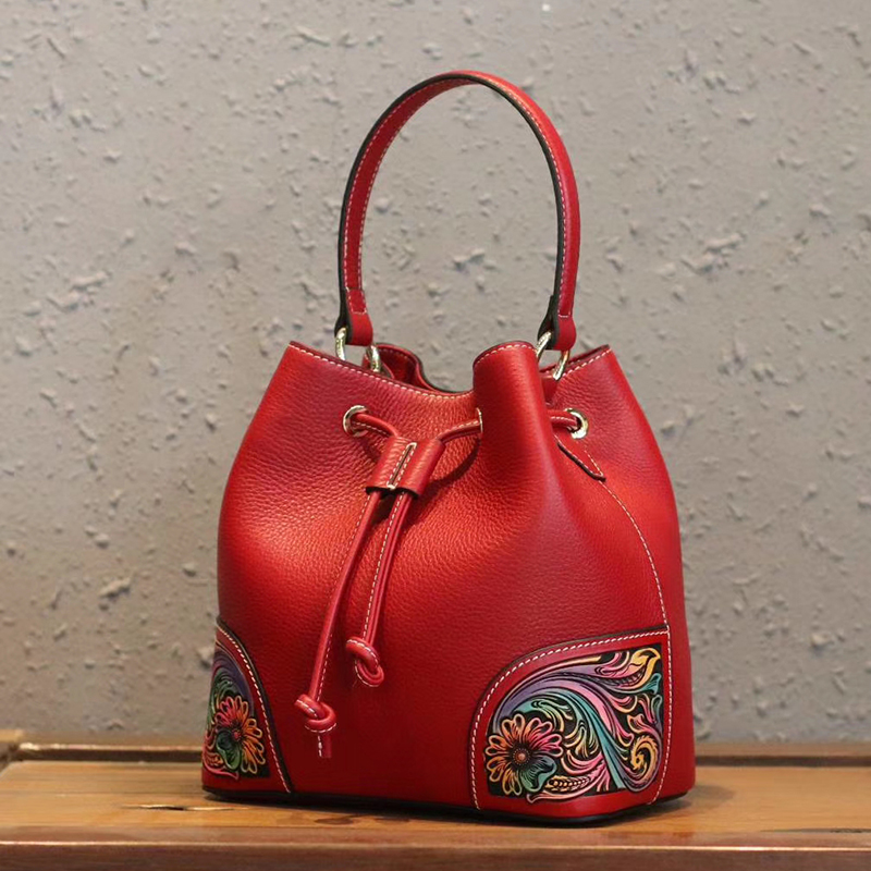 Colored Drawstring Real Leather Barrel Bag LH2955B_3 Colors