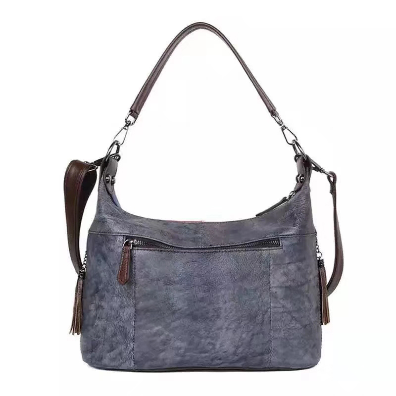 Painting Real Leather Hobo Purse Slouchy Bag LH2940_3 Colors