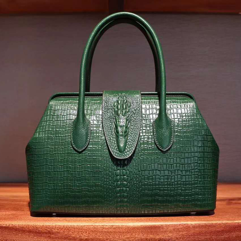 Frame Crocodile Pattern Real Leather Tote Medium Size LH2518M_5 Colors