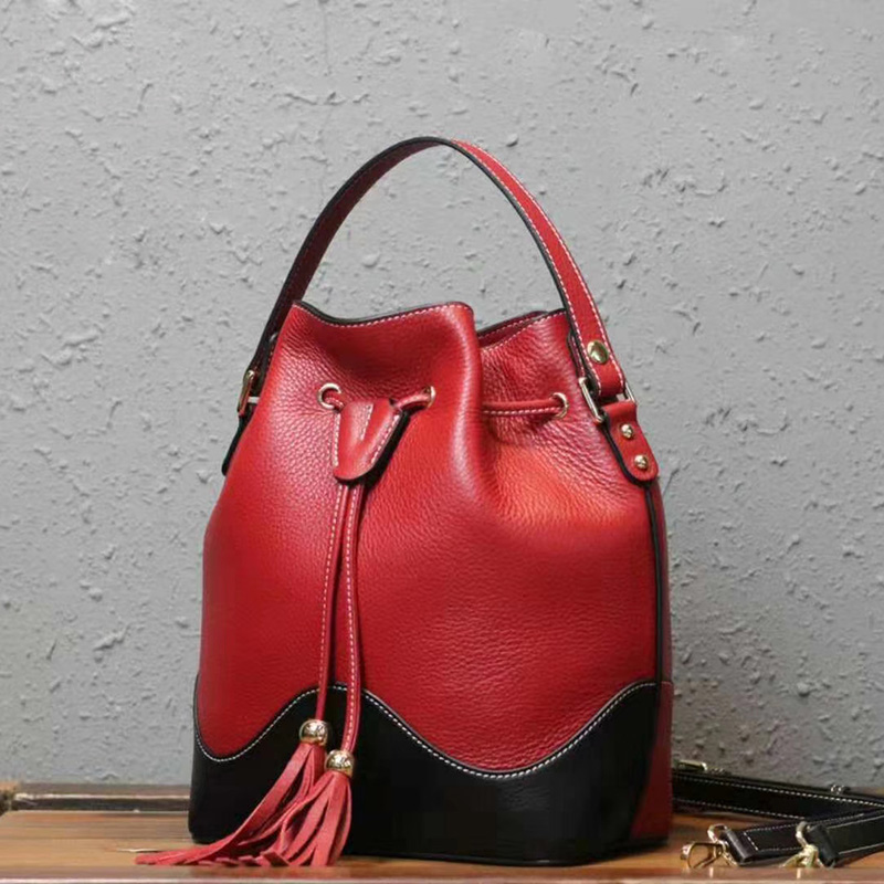 Color Blocked Drawstring Real Leather Barrel Bag LH2981_3 Colors