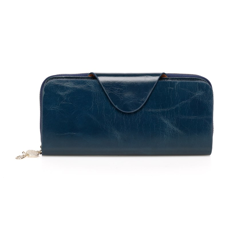 Ramon Navy Blue Distress Leather Wallet LH1099