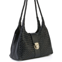 Katy Black Woven Leather Shoulder Bag LH028