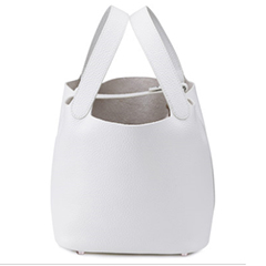 Samson White Leather Barrel Bag LH1295S