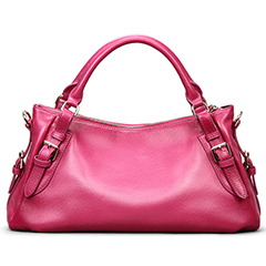 Rose Red Leather Tote Bag LH1435