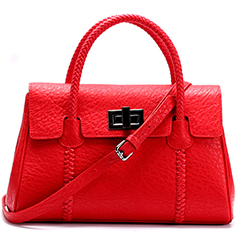 Red Real Leather Tote LH1481