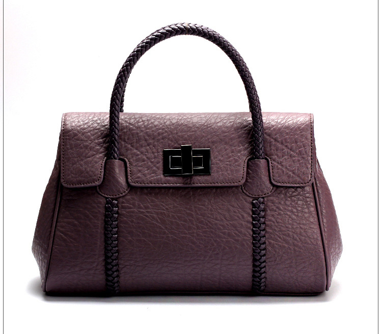 Purple Real Leather Tote LH1481