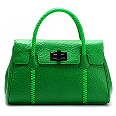 Green Real Leather Tote LH1481
