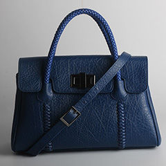 Navy Blue Real Leather Tote LH1481