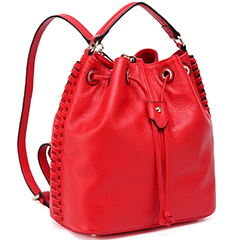 Red Real Leather Backpack LH1577
