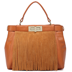 Tan Fashion Tassels Real Leather Tote LH1547