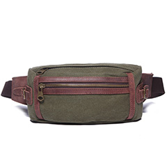 Khaki Canvas & Leather Waist Bag LH1617