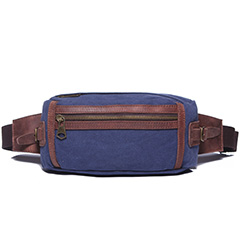 Blue Canvas & Leather Waist Bag LH1617