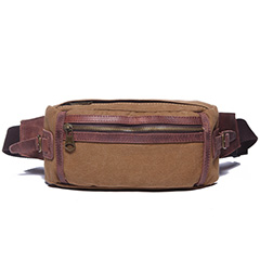 Tan Canvas & Leather Waist Bag LH1617