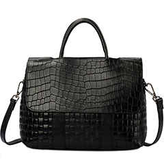 Black Crocodile Pattern leather Tote LH1650