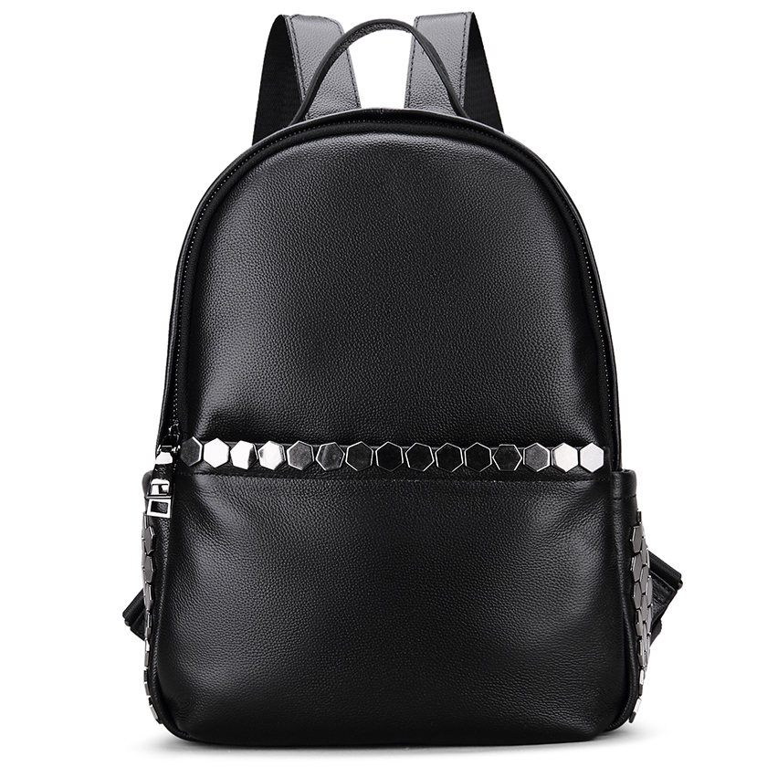 Black Functional Leather Backpack LH1666