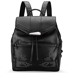 Black Flap Leather Backpack LH1667