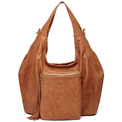 Brown Wrinkle Sheepskin Leather Hobo LH1671