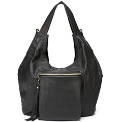 Black Wrinkle Sheepskin Leather Hobo LH1671
