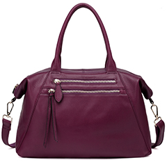 Purple Real Leather Top Handle Bag LH1459
