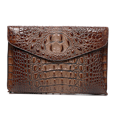 Brown Crocodile Effect Leather Clutch LH1701