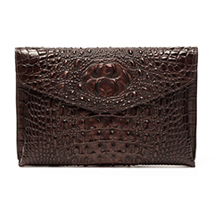 Chocolate Crocodile Effect Leather Clutch LH1701