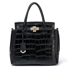 Black Crocodile Pattern Leather Tote LH1719