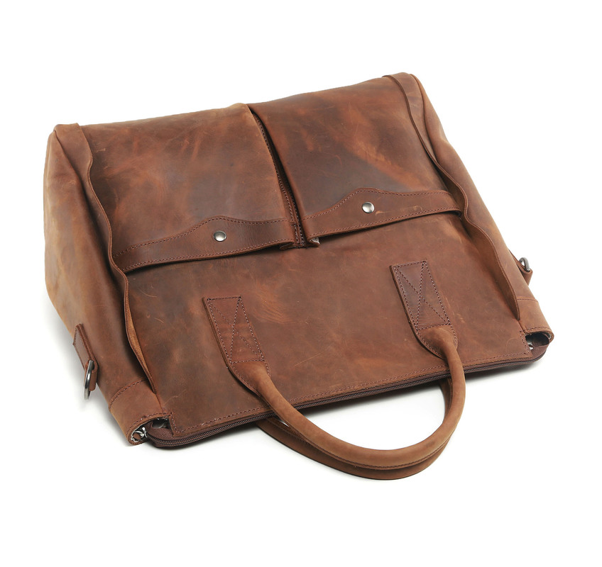Dark Brown Distress Leather Weekend Bag LH1784