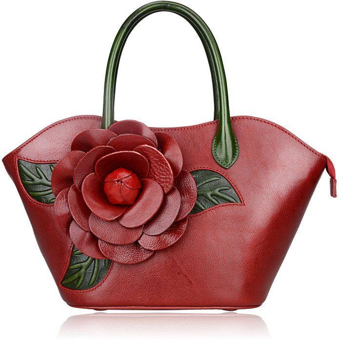 Flower Pattern Leather Handbag LH1804_2 Colors