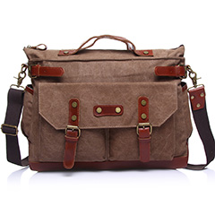 Medium Size Canvas & Leather Duffel Handbag LH1825