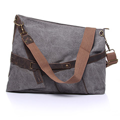 Irregular Canvas & Leather Cross Body Bag Tote LH1832_3 Colors