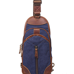 Muti-Pockets Canvas & Leather Chest Bag Sling Bag LH1838_3 Colors