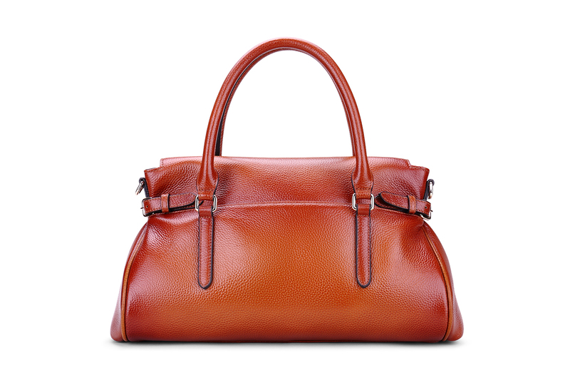 Flap Over Two-tone Color Leather Tote Bag LH1841
